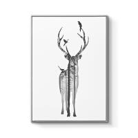 现代简约客厅装饰画北欧风格沙发背景墙组合挂画黑白餐厅壁画麋鹿 70x100cm嵌框 单幅价格 北欧经典黑
