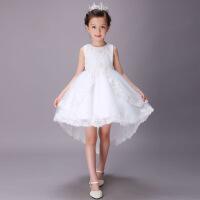 女童礼服公主蓬蓬裙长款儿童婚纱拖尾裙白色小女孩子纱裙演出服 白色