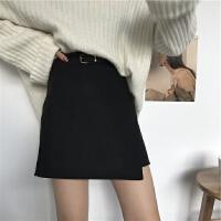 港味复古chic风春装新款显瘦送腰带毛呢半身裙女高腰包臀a字短裙