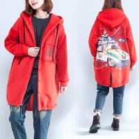 胖人外套大码女装200斤胖mm冬装宽松显瘦韩版中长款加绒加厚棉衣