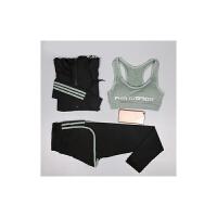 秋冬瑜伽服套装三件套女防震运动文胸假两件九分裤健身长袖外套女