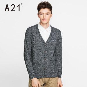 以纯A21秋冬新款毛衣男休闲文艺青年男士保暖针织衫套头假两件长袖潮