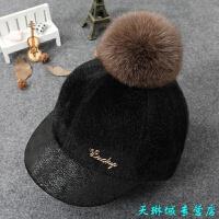 春秋冬季����毛球帽子 冬天�H子男童女童��舌帽��和�棒球帽潮