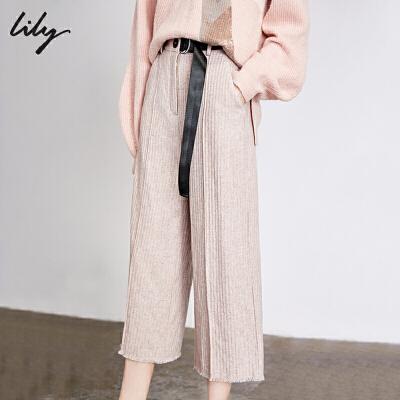 【不打烊价:375元】 Lily2019冬新款女装气质粉肌理条纹撞色腰带羊毛九分阔腿裤5939 过年不打烊!专区2件3折,新品3折起!