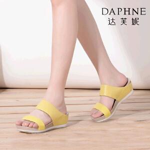 Daphne_达芙妮夏季新品 休闲露趾厚底中坡跟女凉拖
