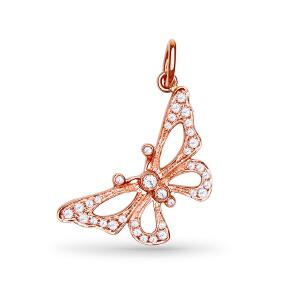 先恩尼 红18k金约21分群镶 玫瑰金钻石吊坠 彩蝶 XDZ0038 不含链