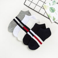 5双男士女士船袜纯棉袜浅口薄款吸汗隐形袜低帮袜子短袜运动 5双装(单件装)