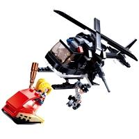 儿童积木玩具 警察直升飞机拼装积木玩具突击直升机模型男孩儿童礼盒装生日礼物