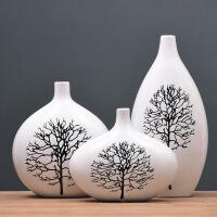 欧式陶瓷花瓶三件套创意时尚家居饰品摆件白桦树玉兰花瓶套装