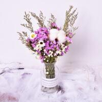 花逅小雏菊勿忘我玫瑰真花束摆件节日装饰客厅带花瓶热