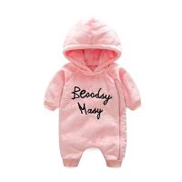 珊瑚绒睡衣女婴儿连体衣服0岁3男宝宝1秋冬装6保暖外套装加绒加厚
