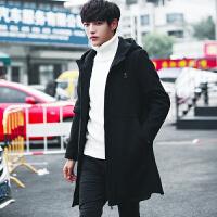 男士韩版中长款连帽风衣男款秋冬季帅气呢子大衣青年宽松毛呢大衣 黑色 M
