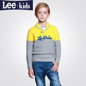 LEE童装 秋款男童长袖翻领上衣中大童时尚印花针织衫毛衣