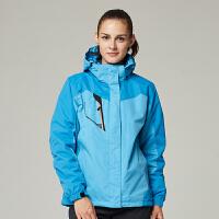 地新款户外三合一冲锋衣男女款秋冬季防风防水登山情侣两件套