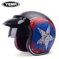 摩托车头盔半覆式夏季电动车头盔安全帽四季通用男女复古半盔