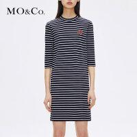 MOCO纯棉条纹圆领露背打底套头连衣裙MA173DRS208摩安珂