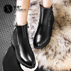 【满200减100】毅雅秋冬女靴平底加绒短靴棉靴马丁靴短筒靴子棉鞋