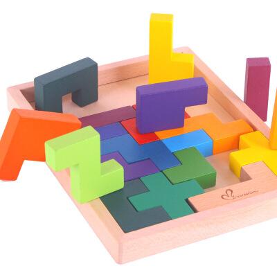 新款 木制俄罗斯方块智力积木 儿童益智榉木拼图拼板玩具图片