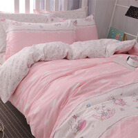 棉�和�床上用品四件套4 女孩女童卡通被套1.2米床品三件套1.5m