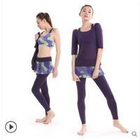 迷彩时尚甜美中袖瑜伽服健身房女运动外搭背心长裤款三件套含胸垫