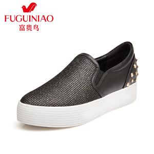 富贵鸟 夏季新款女鞋女平底松糕鞋乐福鞋女休闲鞋