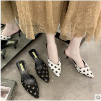 百搭仙女鞋新款高跟细跟尖头包头波点女鞋拖鞋性感女半拖凉拖女