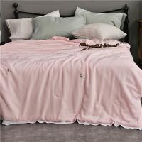 家纺刺绣莫代尔水洗棉粉色空调被双人机洗花边夏凉被冰丝1.8m被子床品 粉红色 蒲公英 200X230cm