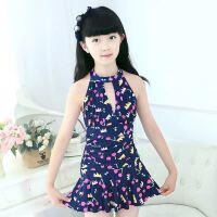 儿童泳衣女孩中大童连体公主裙式可爱韩国游泳装女童泳衣大码套装 7819-藏青