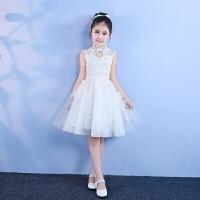 儿童公主裙花童礼服女蓬蓬纱钢琴演出服白色生日晚礼服春夏