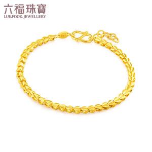 六福珠宝心心相连黄金手链美庄链含延长链女款 F63TBGB0013