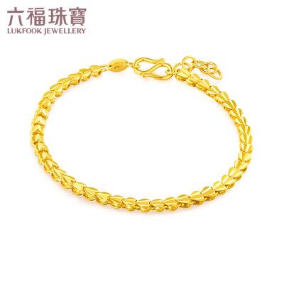 六福珠宝心心相连黄金手链美庄链含延长链女款 F63TBGB0013寓意把彼此的心拴住 一辈子不分开