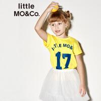 【折后价:80.7】littlemoco夏季新品儿童T恤纯棉足球运动风胶印数字圆领短袖T恤