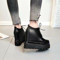 黑色小皮鞋内增高厚底松糕鞋子女时尚潮春新款韩版百搭学生单鞋潮