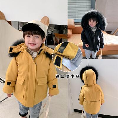 男童冬季新款中小童中长款洋气连帽棉衣