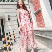 时尚泰国度假立体花雪纺连衣裙性感挂脖波西米亚吊带长裙 粉红色