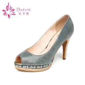 Daphne/达芙妮女鞋 夏季细跟高跟防水台动物纹鱼嘴单鞋