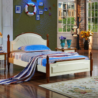 尚满  新款地中海系列单双人床 儿童卧室家具板木组合床L2000*W1300*H1000