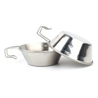 户外304不锈钢碗野营固定把手碗野餐饭碗登山水杯旅行烧烤便携碗