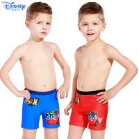 迪士尼儿童泳衣裤大小男童宝宝平角游泳裤卡通绑绳式汽车沙滩裤