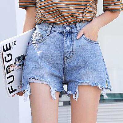 RANJU 然聚2018女装夏季新品新款小菠萝刺绣短裤高腰阔腿裤毛边牛仔裤女