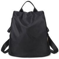 七夕礼物韩版学生书包双肩包女时尚百搭包背包女包潮简约布旅游包包 黑色