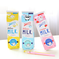 韩国可爱卡通简约牛奶盒笔袋 大容量创意中小学生文具女简约铅笔盒