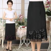 夏季中老年女装半身裙黑色蕾丝中长裙弹力大码妈妈装跳舞裙a字裙