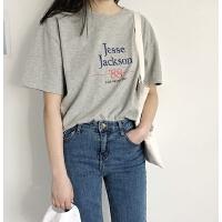 字母数字组合图案款 女士磨毛宽松短袖 宽松舒适凉爽T恤上衣