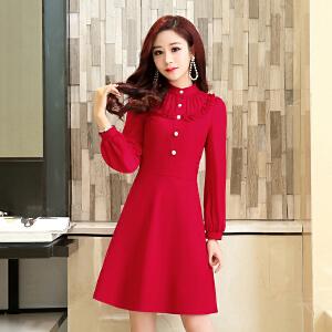 时尚韩版淑女女装套头长袖2018潮流新款纯色修身显瘦百搭女连衣裙