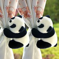 可爱卡通窗帘扣仿真毛绒熊猫公仔窗帘绑带男女孩房间窗帘装饰夹花 黑色 熊猫一对