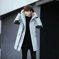 超轻薄韩版修身中长款冬季男士鸭绒羽绒服青少年黑色潮牌男装外套