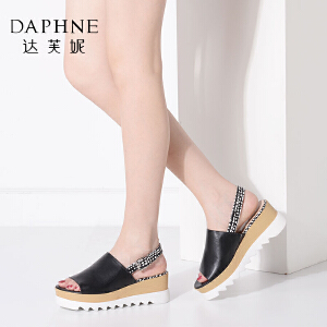 Daphne/达芙妮女鞋夏季亮面后绑带女凉鞋