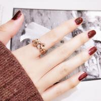 韩国时尚装饰食指环戒指女镀玫瑰金个性戒子潮人钛钢首饰品