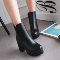 O'SHELL欧希尔新品136-Q55欧美粗跟高跟女士短靴